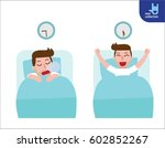 happy man wake up on the... | Shutterstock .eps vector #602852267