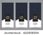 luxury retro label set. vector... | Shutterstock .eps vector #602858504