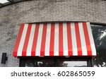 red and white stripe awning... | Shutterstock . vector #602865059