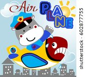 heavy pilot and grimace plane ... | Shutterstock .eps vector #602877755