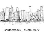sketch of cityscape in new york ... | Shutterstock .eps vector #602884079