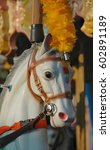 Small photo of A closeup of a most lifelike carousel horse.