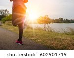 athlete running on trail ... | Shutterstock . vector #602901719