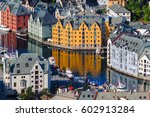toy houses. scenic alesund... | Shutterstock . vector #602913284