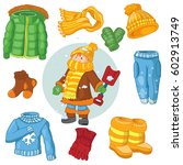 winter child clothes snow ... | Shutterstock .eps vector #602913749
