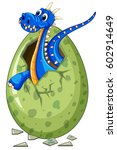 blue dragon comes out of egg... | Shutterstock .eps vector #602914649