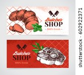 hand drawn sketch meat product... | Shutterstock .eps vector #602922371