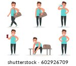 Athlete goes to the gym, drinks water, protein from the shaker. He change clothes for training. Set of poses. Vector illustration in a flat style | Shutterstock vector #602926709