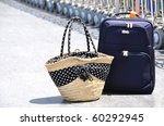 Two bags at the airport - stock photo