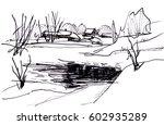winter day on lake | Shutterstock . vector #602935289