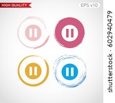 colored icon or button of pause ... | Shutterstock .eps vector #602940479