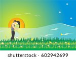 lovers in the park near the... | Shutterstock .eps vector #602942699