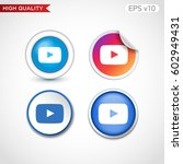 colored icon or button of play... | Shutterstock .eps vector #602949431