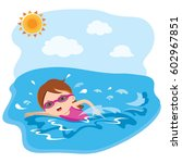 girl swimming in water | Shutterstock .eps vector #602967851