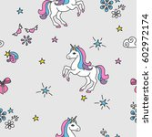 seamless pattern with unicorns  ... | Shutterstock .eps vector #602972174
