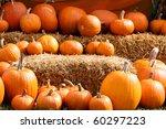 Pumpkin Arrangement On Hay For...