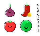 a set of cartoon vegetables... | Shutterstock .eps vector #602980115