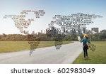 female construction worker on... | Shutterstock . vector #602983049