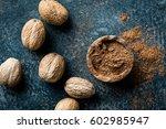Nutmeg On Dark Background ...