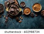 dark chocolate pieces crushed... | Shutterstock . vector #602988734