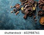 dark chocolate pieces crushed... | Shutterstock . vector #602988761