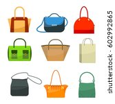 ladies bags icons flat design...