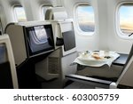 airplane cabin business class... | Shutterstock . vector #603005759