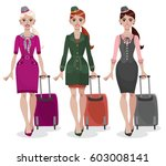 young smiling stewardess in... | Shutterstock .eps vector #603008141