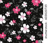vector flowers pattern ... | Shutterstock .eps vector #603020735