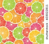 vector illustration with citrus ... | Shutterstock .eps vector #603022811