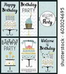 happy birthday party cards set... | Shutterstock .eps vector #603024695