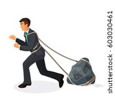 entangled in ropes businessman... | Shutterstock .eps vector #603030461