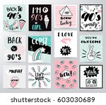 set memphis cards for... | Shutterstock .eps vector #603030689