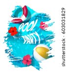 pool party composition in paint ... | Shutterstock .eps vector #603031829
