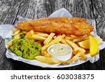 delicious crispy fish and chips ... | Shutterstock . vector #603038375