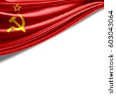 ussr flag of silk with... | Shutterstock . vector #603043064