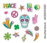 collection of patch in hippie... | Shutterstock .eps vector #603043385