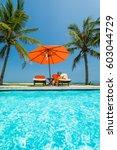woman in luxury spa resort near ... | Shutterstock . vector #603044729
