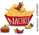 nachos with guacamole sauce and ... | Shutterstock .eps vector #603044894