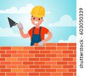 worker builds a wall  brickwork....   Shutterstock .eps vector #603050339
