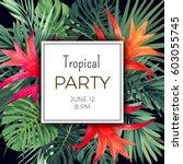 hawaiian vector floral banner... | Shutterstock .eps vector #603055745
