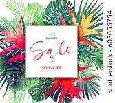 summer vector floral sale... | Shutterstock .eps vector #603055754