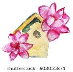 watercolor sketch of birdhouse... | Shutterstock . vector #603055871