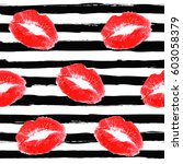 beautiful red lips print of... | Shutterstock .eps vector #603058379