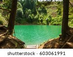 beautiful crater lake of a... | Shutterstock . vector #603061991