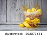 Yellow Easter Eggs In A Basket