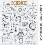 science education doodle set of ... | Shutterstock .eps vector #603075845
