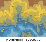 generic map of a coastline with ... | Shutterstock . vector #60308173
