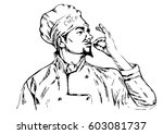 chef in uniform.vector... | Shutterstock .eps vector #603081737