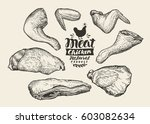 butcher shop. cuts  chicken... | Shutterstock .eps vector #603082634